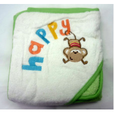 OWEN Baby Terry Hooded Towel with Washcloth - GREEN