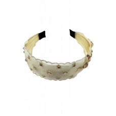 Yona Fashion Flower Lace Stone Hair Band (Cream)