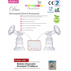 Halford Duo Rechargable Double Breastpump - 2 year warranty COMBO Bubbles Disposable Breastpad(60pcs)