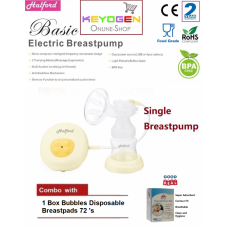 Halford New Rechargable Single Breastpump - BPA Free - 2 year warranty- COMBO Bubbles Disposable Breastpad(60pcs)