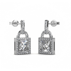 Her Jewellery Sweet Lock Earrings embellished with Crystals from Swarovski