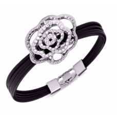 Her Jewellery Rosy Bracelet (White Gold)embellished with Crystals from Swarovski
