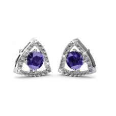 Her Jewellery Tri-Styled Earrings (Purple) embellished w/Crystals from Swarovski
