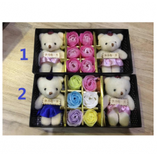 6pcs Rose Soap Flower with 2pcs of Bear