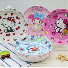 [H-343] Cartoon Kitty Melody Twin Stars Tsum Tsum Doraemon Noodle Plate