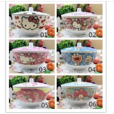 [H-386] Cartoon Kitty Melody Doraemon Noodle Bowl with Cover