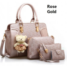 [888-41] 4in1 Stylish Handbag Set with Cute Teddy Bear Keychain