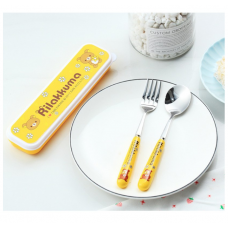 [H-371]Kitty Doraemon Rilakkuma Cartoon Stainless Steel Spoon Fork Tableware Set