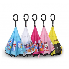 [H-110]  Cartoon Line Tsum Tsum Doraemon Kitty Inverted Reverse C Hook Umbrella