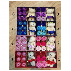Rose Soap Flower Gift Box (6pcs with Bear)