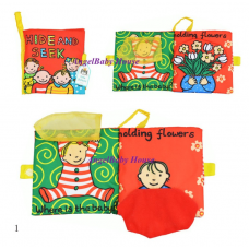 Jollybaby/Taf toys touch and feel baby kid cloth soft reading book hide and seek