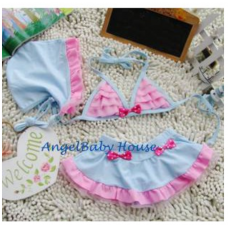 Blue with pink ribbon 3 pcs set swimming suit kids swimming suit for girl