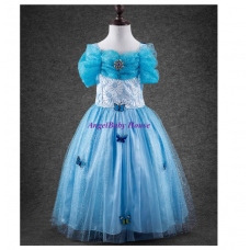 Disney Princess cinderella blue long dress costume blue colourful butterfly girl