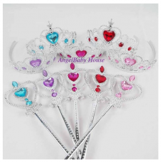 Disney princess PINK/BLUE/PURPLE Tiara Crown Wand 5 DIAMONDS baby kids girl