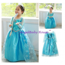 Long sleeves children girl kid cloth dress Design Q costume Frozen princess elsa