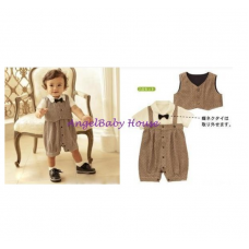 Gentle Baby brown romper with bow + small jacket 2 pcs set boy cloth kids