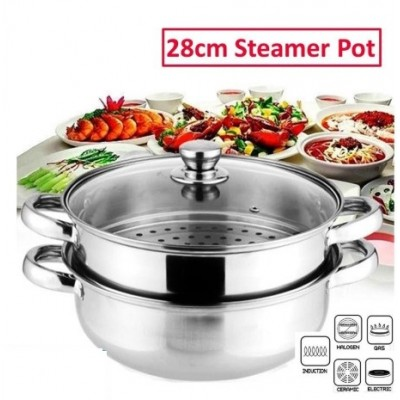 [READY STOK] Steam Pot 2 Layer High Quality Stainless Steel Pengukus Steamer Cookware Pot Periuk