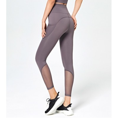 (READY STOCK KL) Women Lady Plus Size Lady Yoga Pant Mesh Net Fitness Pocket Legging Workout Gym Tight Stretchy Sport Run Long Pants
