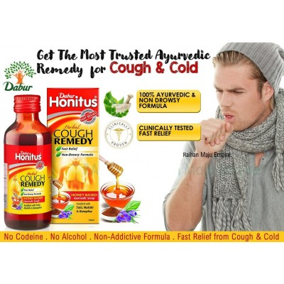 Dabur Honitus Herbal Cough Remedy Syrup 100ml - Most Trusted Ayurvedic Remedy  for Cough & Cold
