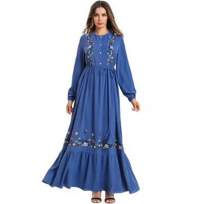 ANAMIDA BLUE FLOOR-LENGTH DRESS WITH FULL SLEEVE AND FLOWER EMBROIDERY