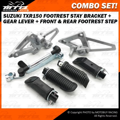 COMBO SET! SUZUKI TXR150 FOOTREST STAY BRACKET + GEAR LEVER + FRONT & REAR FOOTREST STEP