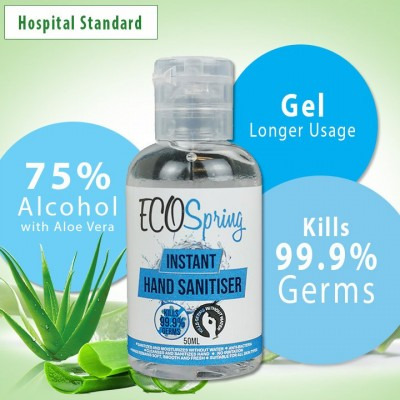 Eco Spring Hand Sanitizer Moisturizer with 75% alcohol with Aloe Vera 50ML