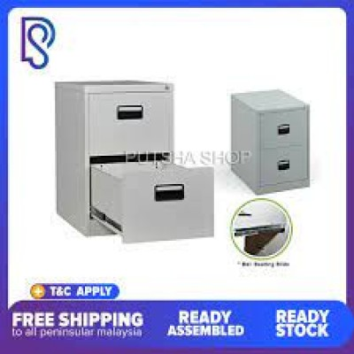 Steel/Metal 2 drawers filling cabinet c/w recess handle - FREE DELIVERY/READY STOCK