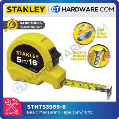 STANLEY STHT33989-8 MEASURING TAPE 5M/16FT X 19MM (POWER LOCK YELLOW COLOUR) (STHT339898)