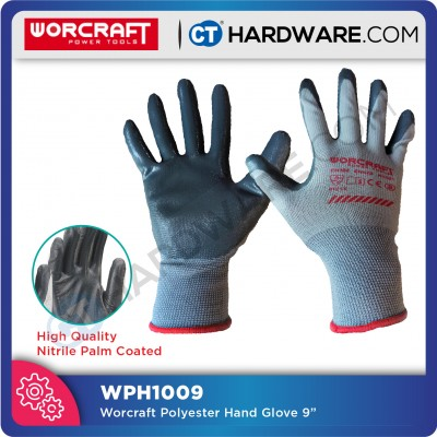 Worcraft Nitrile Palm Coated Smooth Polyester Protective Cut Resistance Work Glove / Safety Glove (1 PAIR)