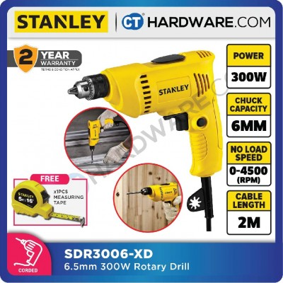 STANLEY SDR3006 6.5MM 300W 6MM ROTARY DRILL