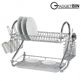 Double Layer Dish Drainer Dish Rack (Silver) (Silver)