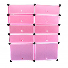 AS - 10 Cubes Pink DIY Cabinet Wardrobe (95 x 37 x 108cm)
