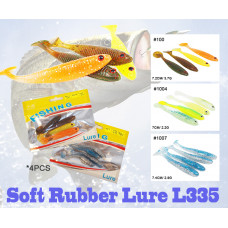 Soft Rubber Fish Lure Fishing Tackle Silicone  4PCS