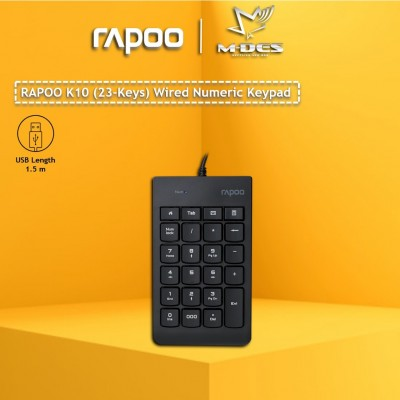 Rapoo K10 Numeric 23keys Wired Keyboard Black / USB Connection / Laser Carved Keypad / Comfortable Typing / Easy Install