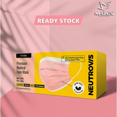 [FAST SHIP] Neutrovis Premium Medical Face Mask 3ply Pink Baby / Medical Face Mask / Disposable Mask / 50's Mask