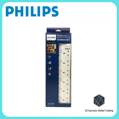 Philips SPN1664BA/ SPN1664WA 6 Charger Ports Heavy Duty Home/Office UK Pin Plug Extension Socket With Sirim Certified