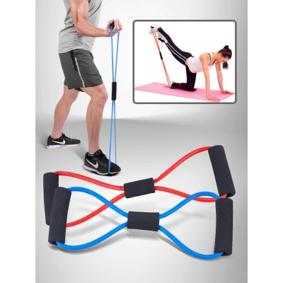 Resistance Band Elastic Pull Muscle Yoga Pilates Exercise Band 8 Shape Rope Pulling Chest Expander Home Gym Fitness