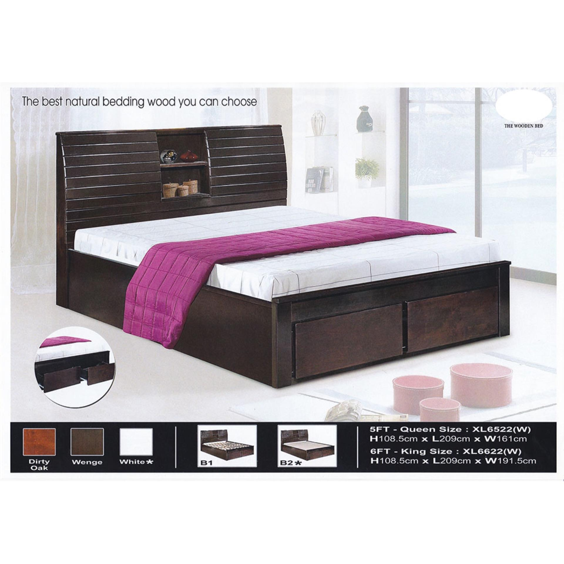 Solid Wood Strong Queen Size Wooden Bed Frame With Headboard Storage 2 Storage Drawers L2150mm X W1610mm X H1085mm Pre Order 2 Week Dark Brown One Size New Pgmall