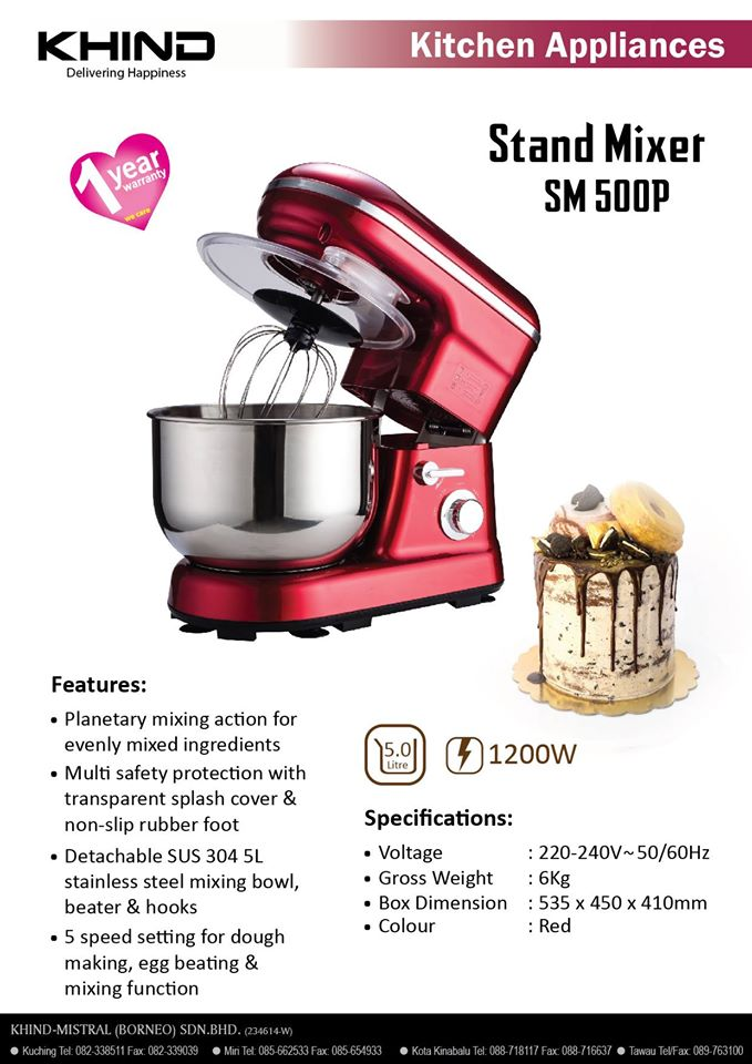 Khind 5l Stand Mixer Sm 500p Crimson Red New Pgmall